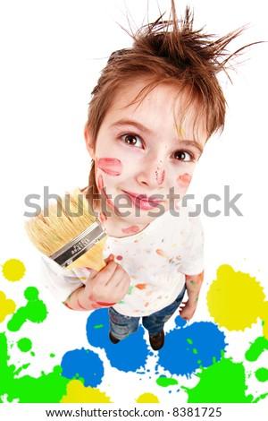 Portrait of a styled children. Theme: art, education, school - stock photo