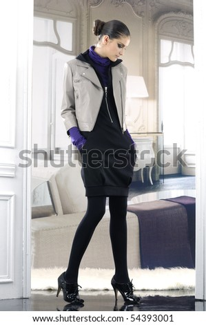 Portrait of a styled professional model - stock photo