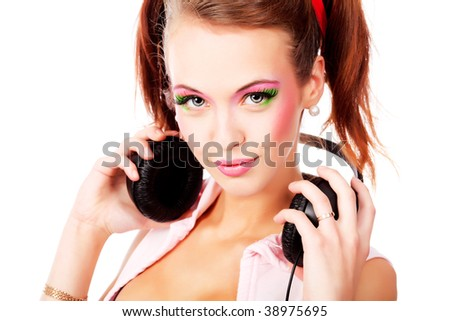 Portrait of a styled professional model. Theme: music, leisure - stock photo