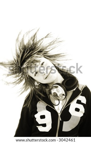 Portrait of a styled professional model. Theme: TEENS, MUSIC, - stock photo