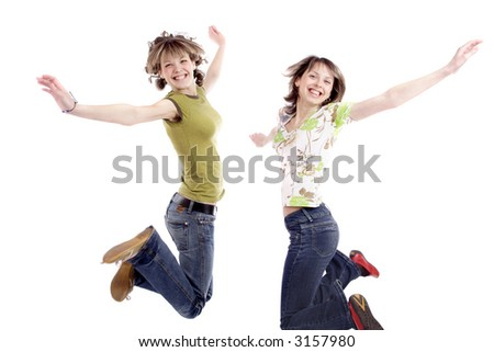 Portrait of a styled teens. Theme: TEENS, MUSIC, FAMILY - stock photo