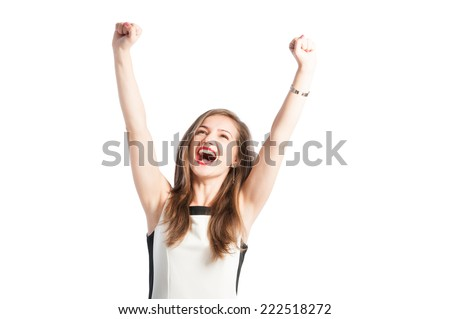 Portrait of a successful business woman raising arms up in the air and screaming for happiness - stock photo
