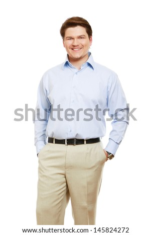 Portrait of a successful businessman , isolated on white background