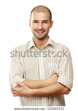 Portrait of a successful businessman on white background - stock photo