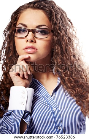 Portrait of a successful businesswoman in glasses  a white background - stock photo