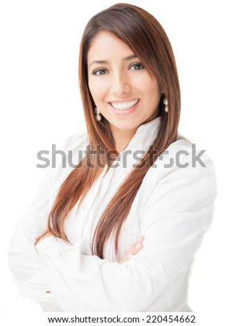 Portrait of a successful businesswoman smiling at the camera on a white background - stock photo