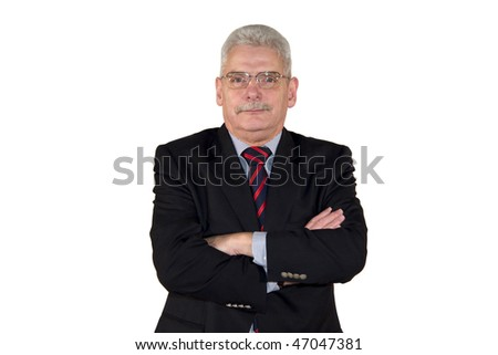 portrait of a successful caucasian senior manager posing with his arms crossed, isolated on white background
