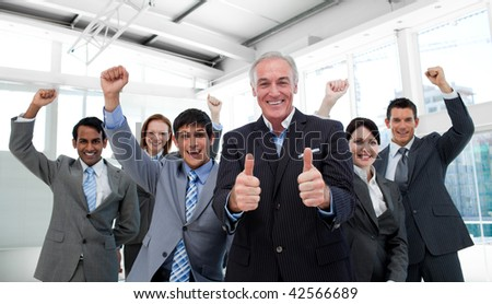 Portrait of a successful international business team in a meeting - stock photo