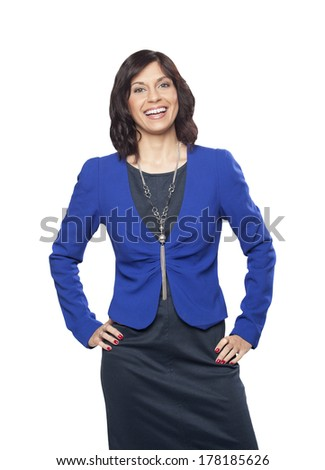 Portrait of a successful young businesswoman isolated on white background  - stock photo
