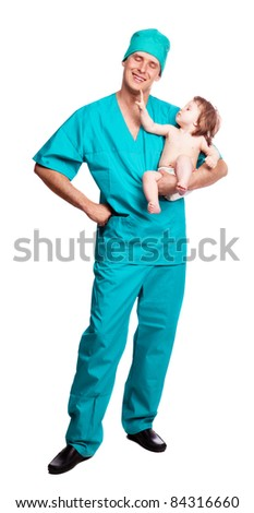 portrait of a surgeon holding a  baby, isolated against white background - stock photo