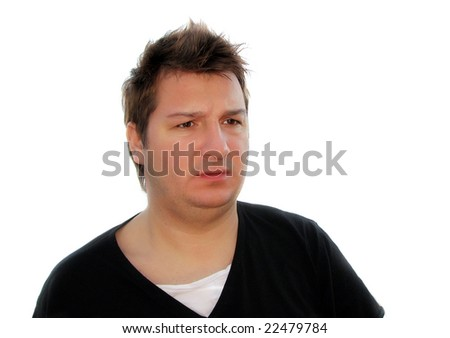 Portrait of a surprised man (isolated on white) - stock photo