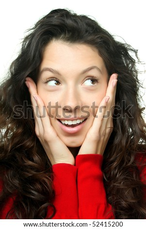 Portrait of a surprised young woman isolated over white background