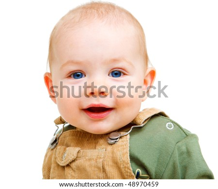 Portrait of a sweet baby with blue eyes - stock photo