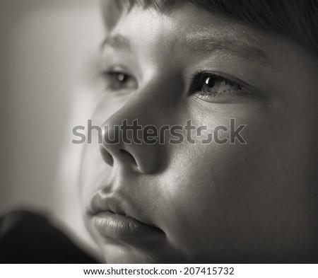 Portrait of a teenage boy closeup. - stock photo
