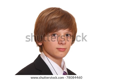 Portrait of a teenage boy in a business suit - stock photo