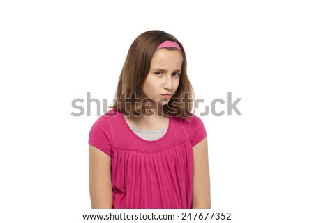 Portrait of a teenage girl against white background