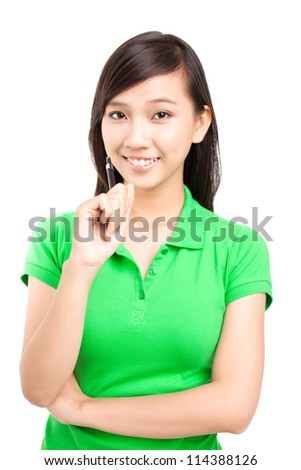 Portrait of a teenage girl thinking about something - stock photo