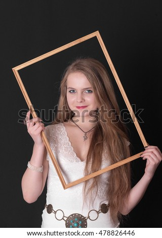portrait of a teenager girl in a frame