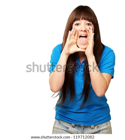 portrait of a teenager screaming on white background
