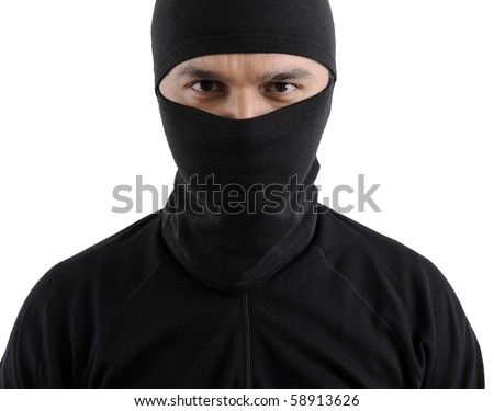 Portrait of a thief isolated on white background. - stock photo