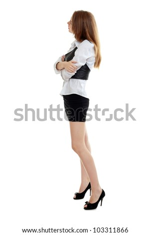 Portrait of a thinking woman full-length  looking away on copyspace - stock photo