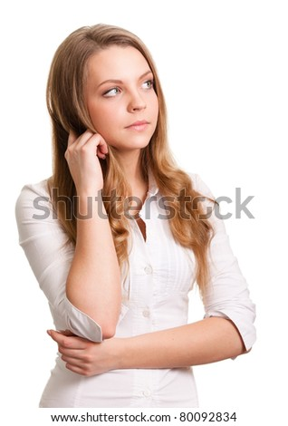 Portrait of a thinking woman looking on copyspace - stock photo