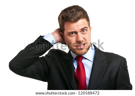 Portrait of a thoughtful businessman - stock photo