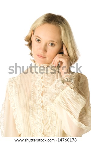 Portrait of a thoughtful woman, white background - stock photo