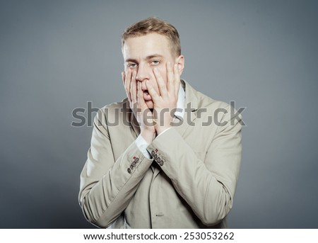 portrait of a tired man,stressed and with headache - stock photo