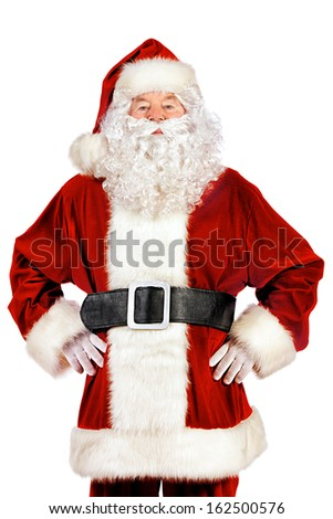 Portrait of a traditional Santa Claus. Christmas. Isolated over white background.  - stock photo