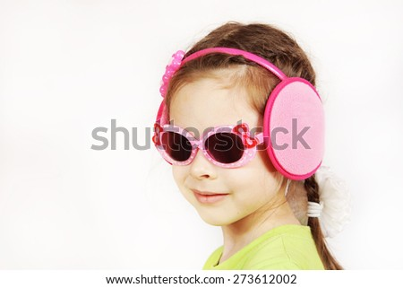 Portrait of a trendy smiling cute little girl with sunglasses - stock photo