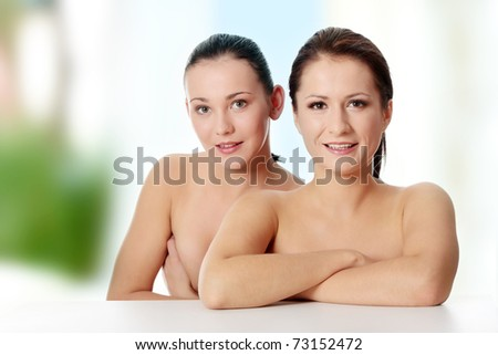 Portrait of a two beautiful sexy young women - stock photo