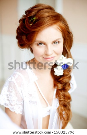 Portrait of a very beautiful red-haired woman  - stock photo