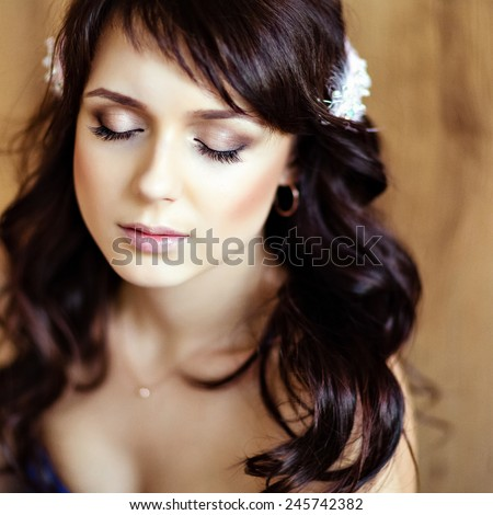 portrait of a very cute sensual beautiful girls brunette with eyes closed, close-up