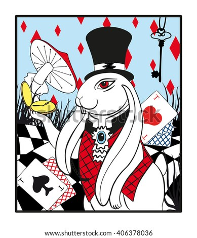 portrait of a white rabbit with a pocket watch