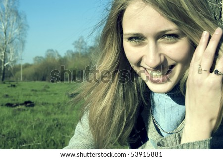 Portrait of a woman admiring ecological countryside