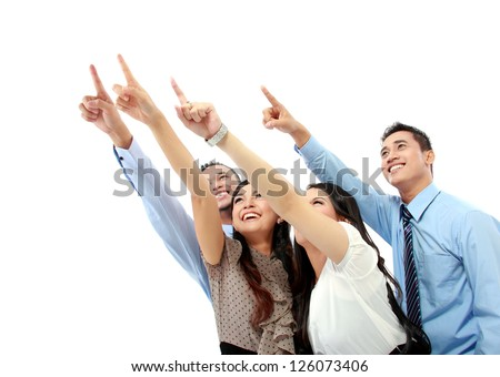 Portrait of a woman and man office worker pointing at blank space isolated on white background