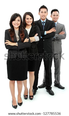 Portrait of a woman and man office workers smiling isolated on white background - stock photo