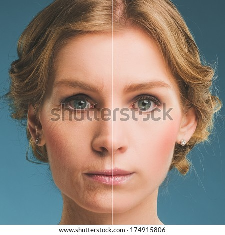 Portrait of a woman before and after botox. Young and old face. - stock photo