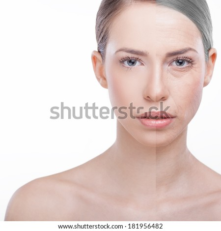 Portrait of a woman before and after Botox. Young half of the face and old and wrinkled side of the face. Before and after concept - stock photo