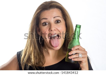 portrait of a woman drinking beer on white background