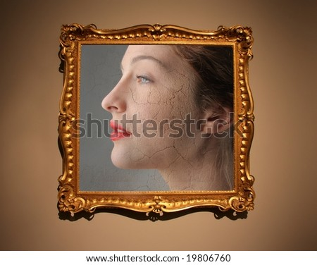 portrait of a woman in antique frame - stock photo