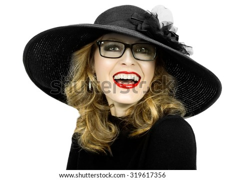 portrait of a woman in elegant hat on a whit  background