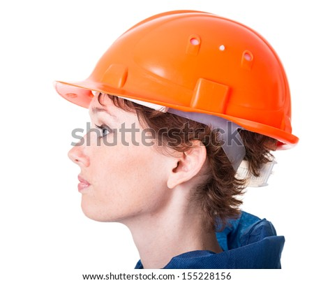 Portrait of a woman in protective clothing and helmet. Isolation on white background with a clipping paths