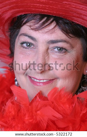 portrait of a woman in red - stock photo