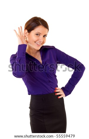 Portrait of a woman listening to something with specific gesture. - stock photo