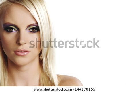portrait of a woman on a white background - stock photo