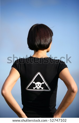 Portrait of a woman seen of back - stock photo
