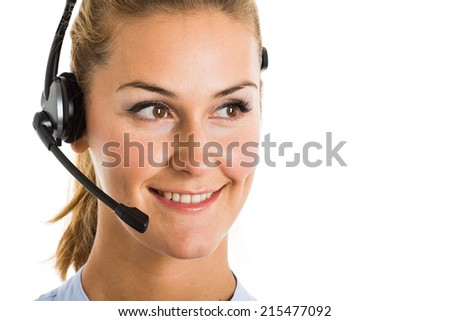 Portrait of a woman using an headset. Isolated on white