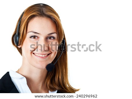 Portrait of a woman using an headset. Isolated on white  - stock photo
